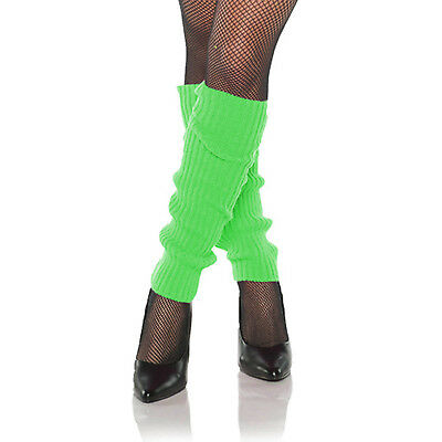 Women's NEON GREEN Ribbed Costume Knit Leg Warmers 1980's Dance Party Bright
