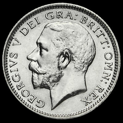 1925 George V Silver Sixpence, Broad Rim, Scarce, G/EF