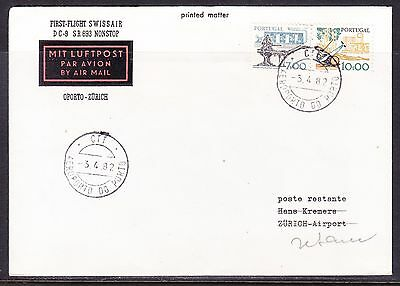 Portugal 1982 Swissair SR693 DC-9 Non Stop Oporto to Zurich  Flight Cover