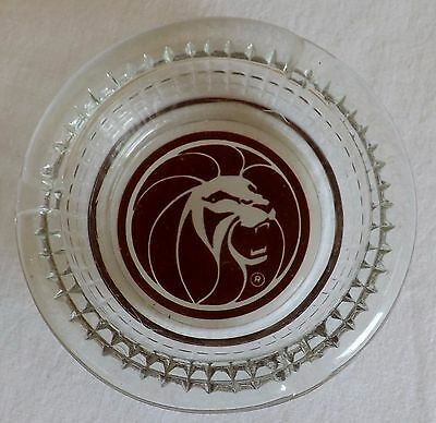 MGM Lion Hotel Casino Las Vegas Heavy Round Clear Glass Ashtray FREE SHIPPING