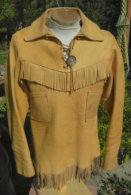 Fringed Leather Pullover Tunic Top MENS SMALL - Frontier Re-Enactment Costume