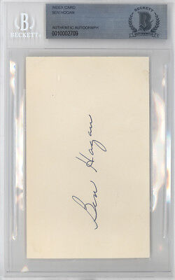 Ben Hogan Certified Authentic Autographed Signed 3x5 Index Card Beckett BAS