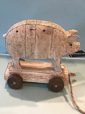 New Creative Co-Op Antique Farmhouse Rustic Country Pig  On Tray Pull Toy