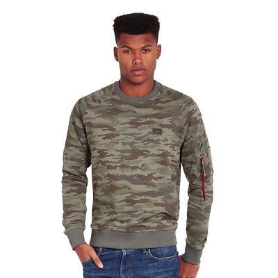 Alpha Industries - X-Fit Sweater Woodland Camo Pullover Rundhals