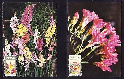 South Africa 1985 Flowers set 4 Maxi Cards