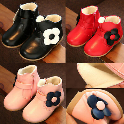 Child Kid Baby Girl Warm Princess Boots Anti-slip Sneakers Leather Shoes Booties