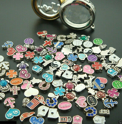 50PCS Lot Mixed Floating Charms For Glass Living Memory Locket Necklace Handmade