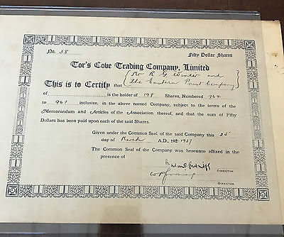 1937 Tor's Cove Trading Company Limited Newfoundland Stock Certificate  B987