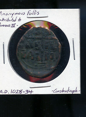 Anonymous Follis Attributed to Romanus III Constantinople AD 1028 - 34  B976