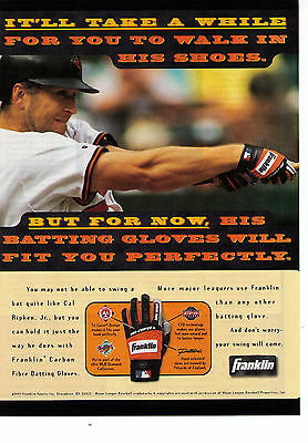 """1997 Franklin Batting Gloves Cal Ripken """"A While To Walk In His Shoes"""" Print Ad"""