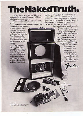 """1971 Fender Amps & Speakers """"The Naked Truth""""  Vintage Print Advertisement"""