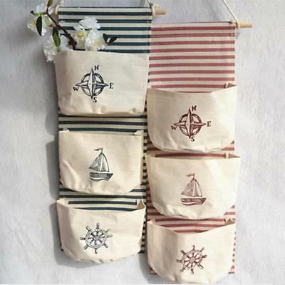 3 Grids Wall Hanging Storage Bag Organizer Toys Container Decor Pocket Pouch - S