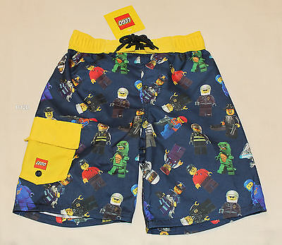 Lego Classic Minifigures Boys Navy Blue Yellow Printed Board Shorts Size 5 New