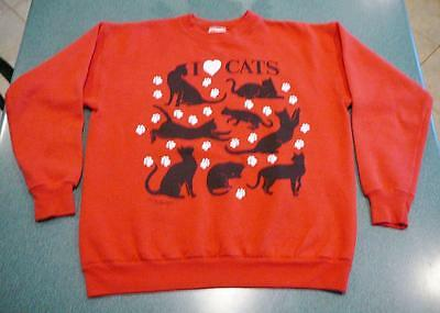 A Wonderful Red Sweatshirt With Black Cats & White Footprints.  Ladies Sz Medium