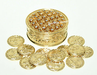 WEDDING CEREMONY Gold Round Box ARRAS DE BODA 13 UNITY COINS Bridal New 755 gld