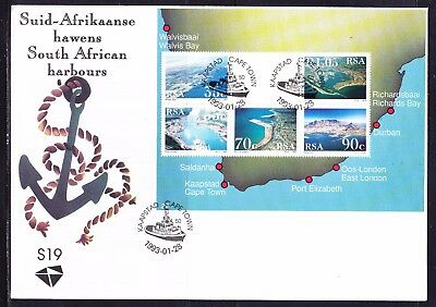 South Africa 1993 Harbours  Miniature Sheet First Day Cover Large