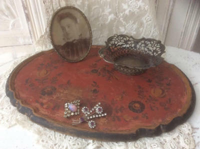 ~*Time Worn Bird/Flowers Painted Wooden Decorative/Vanity Tray*~