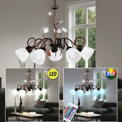 LED Pendulum Light Dimmable Country House Style Leaves Vine Antique RGB Remote