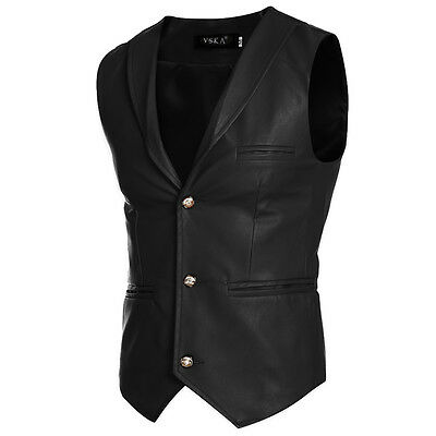 Mens Leather Vest Anarchy Motorcycle Biker Club Concealed Carry Retro Formal