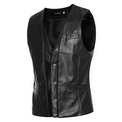 Men's Leather Vest Anarchy Motorcycle Biker Club Concealed Carry Retro Formal