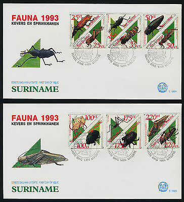 Surinam 943a-53a on FDC 's - Insects