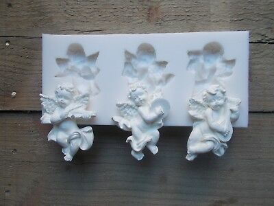 SILICONE RUBBER MOULD  three musical cherubs easy to use make your own cherubs