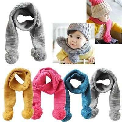 Baby Neckerchief Winter Warm Solid Color Scarves Boys Girl Kids Knitted Scarf UK