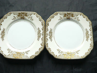 Noritake, Pair of small square China plates, Gold Flower design, Japan