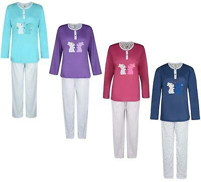 Ladies Pyjama Set Bunnies Stars Long Pyjamas Night Wear Uk 8-18 Bnwt