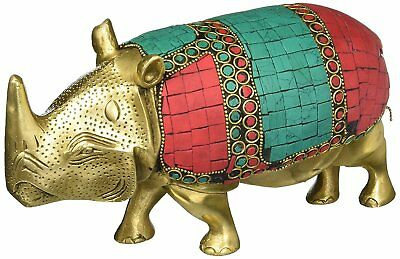 Wild Rhino African Safari Rhinoceros Brass Figurine- Metal Animal Statue Artwork