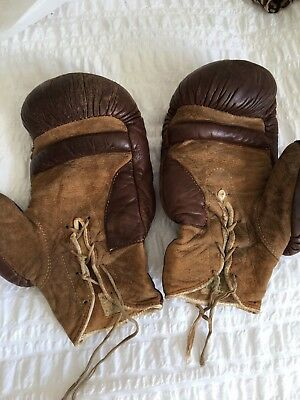 Vintage Pair of Leather Boxing Gloves With Laces-Old Home Decor, Man Cave