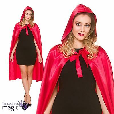 Long Red Riding Hood Satin Hooded Cape Cloak Halloween Fancy Dress Costume 110cm