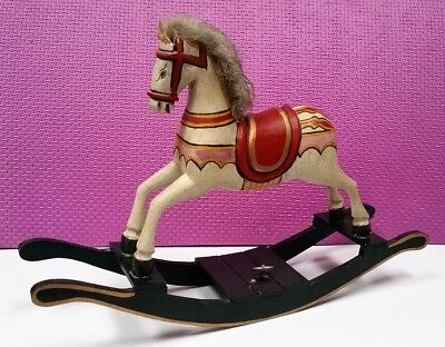 Vintage Wooden Hand Carved & Painted Doll Rocking Horse