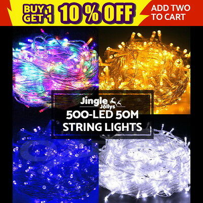 500 LED Christmas String Lights Fairy Party Wedding Outdoor Garden 4 Colours