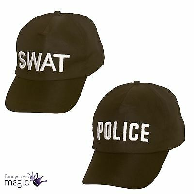 Adults Mens Ladies Police Black Baseball Cap Fancy Dress Costume Accessory Hat