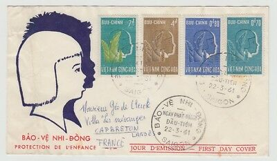 Vietnam Old Cover Fdc Bao Ve Nhi Dong Saigon To France 1961 !!