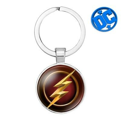 DC Comics The FLASH Logo metal glass silver plated Movie Key chain cosplay