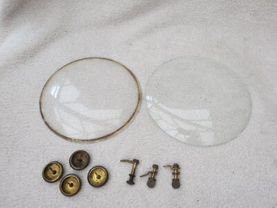 Collection Of Vintage Clock Parts Door Catches, Feet, And Glass