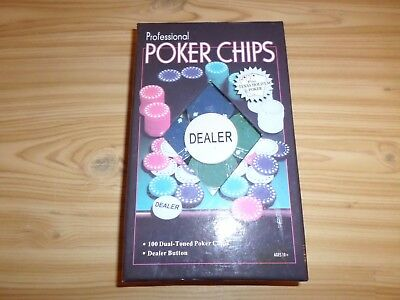 Pack of 100 NEW & Sealed Boxed Poker Chips Including Dealer Button