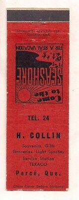H. Collin Texaco, Groceries Lunch, Perce QC Quebec Matchcover 092317