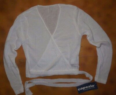 NWT Ballet Dance Capezio White Long Sleeve Wrap Knit Sweater Large Adult 7808