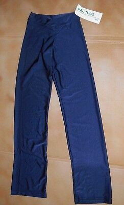 NWT Bal Togs Lycra Jazz Pants Blue Shiny Lycra Ladies Small 8422 V Front bootcut