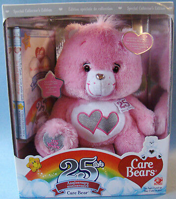 New Love A Lot Care Bear & DVD Special Collector's Swarovski Eyes Silver Accents