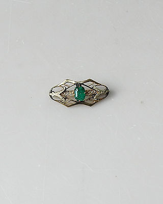 Antique Victorian Bar Collar Pin Paste Green Stone Gold Filled #179
