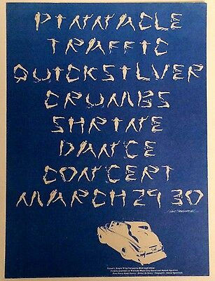 "Traffic / Quicksilver / Crumbs ""pinnacle Shrine 1968 Concert"" U.s. Handbill!"