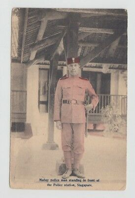 Straits Settlements Old Postcard Malay Police Singapore !!