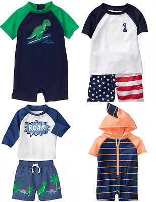 Gymboree Baby Boy Swim Shop Sets Rash Guard Trunks 1 Piece 0 3 6 12 18 Mos NWT
