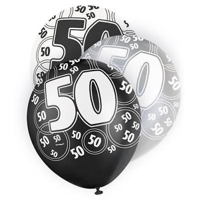 12 Latex Happy 50Th Birthday Balloon Age 50 Party Celebration Decoration Black