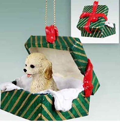 Cockapoo Blond Cream Dog Green Gift Box Holiday Christmas ORNAMENT
