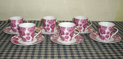 Jay & Sons Demitasse Cup and Saucer Set Pink Mauvey Roses Gold Trim 6 Sets NEW